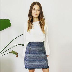 LOFT Blue Tweed Fringe Hem Skirt
